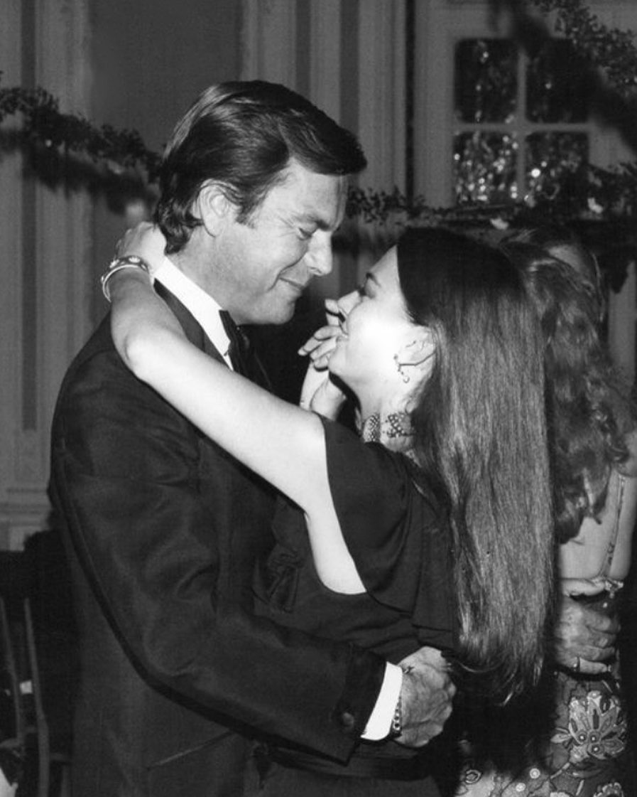 "All eyes were on Natalie and RJ but they only had eyes for each other.  Here they are dancing together at the premiere party for ""The Godfather"" - London 1972."